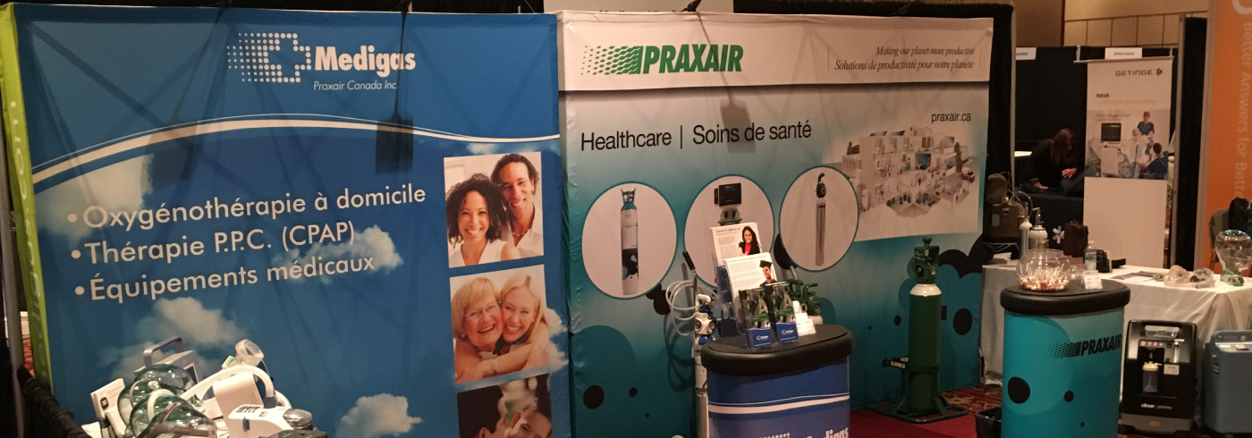 Medigas booth at the World Sleep Congress, 2019, Vancouver BC - OPIQ, Montreal, 2019
